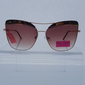 Betsey Johnson Tortoise & Gold Aviator Sunglasses